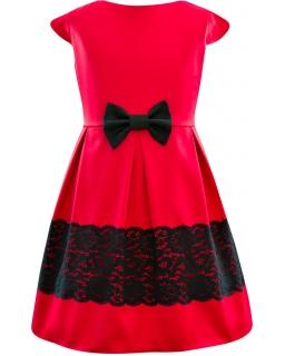 Sukienka z koronkowym pasem 134-158 Sandra czerwień plus czerń
