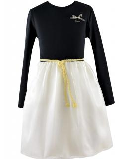 bfdde43654 Sukienka z długim rękawem 116-152 Marianna czerń plus złoto