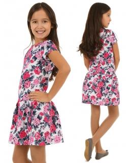 Wygodna sukienka bawełniana 116-158 KR100 różowe kwiaty