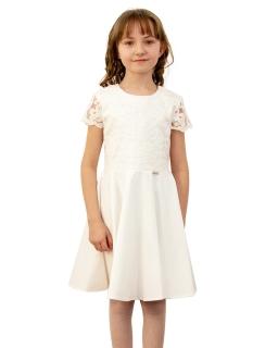 Sukienka koronkowa dla dziewczynki 128-158 Sylwia ecru