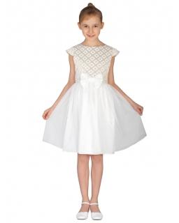 Tiulowa sukienka dla dziewczynki 128-158 Zosia 2 złoto plus ecru
