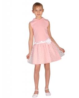 Sukienka z serduszkowym tiulem 92-140 Paula róż