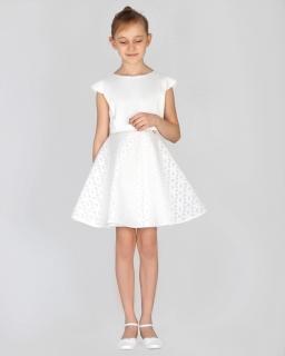 Rozłożysta sukienka dziewczęca 134 -158 Sun ecru