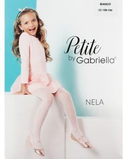 Rajstopy w kropeczki dla dziewczynki 110-158 Nela biel