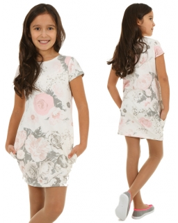 Dresowa sukienka w pastelowe kwiaty 116 - 158 KR108 szary plus róż