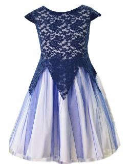 Sukienka koronkowo tiulowa 134-158 Jessica granat