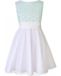 Sukienka z kwiatów i tiulu na wesele dla dziewczynki 128 - 152 Amelka