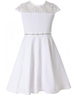 Subtelna sukienka pokomunijna z koronką 134 - 158 Sofija biel