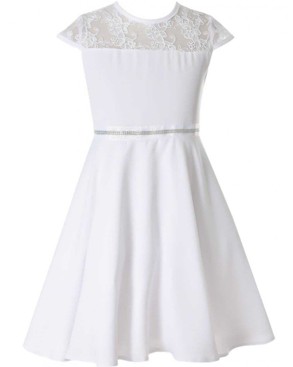 8f63ab8b0f Subtelna sukienka pokomunijna z koronką 134 - 158 Sofija biel