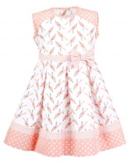 Sukienka w ptaszki i groszki 68 - 116 Fifi biel plus morela