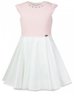 Sukienka okazjonalna 134-164 Izolda ecru i brzoswkinia
