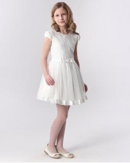 Sukienka z perełkami 116-158 Leda ecru