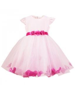 Różowa sukienka z szarfą 86-116 Liliana róż