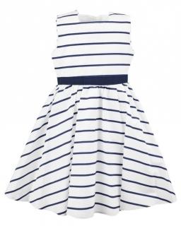 Granatowo-biała sukienka w paski 98-116 Sisi