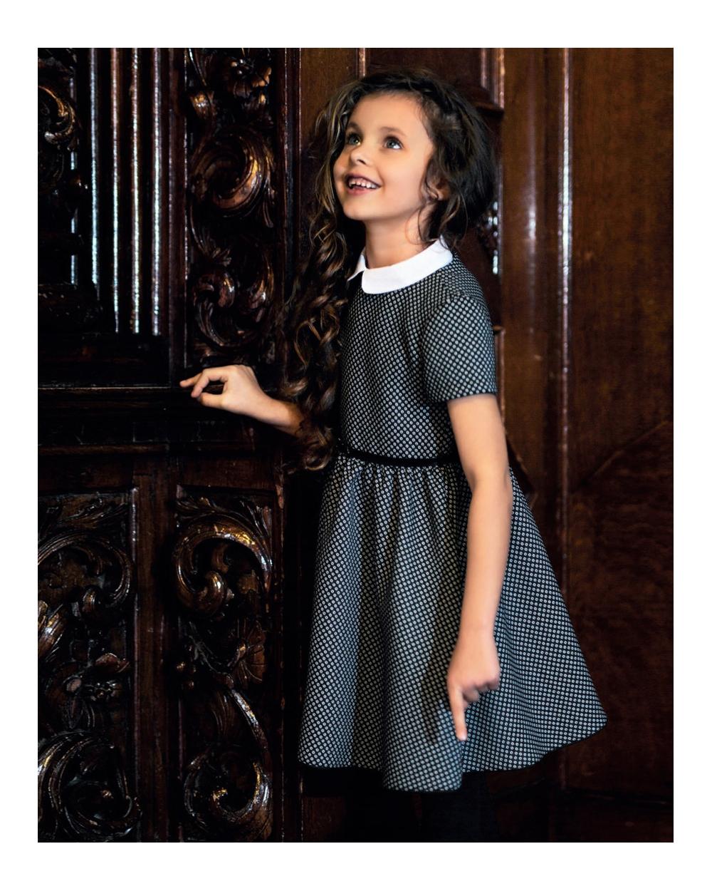 700c04ee92 Szykowna galowa sukienka 122-152 206A SZK czarny plus biel