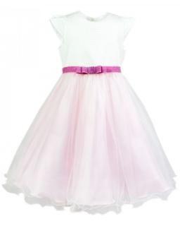 Balowa sukienka z brokatowym paskiem 98-122 Konstancja róż plus ecru