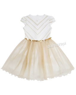 Wizytowa sukienka 134-158 Astra ecru plus złoto