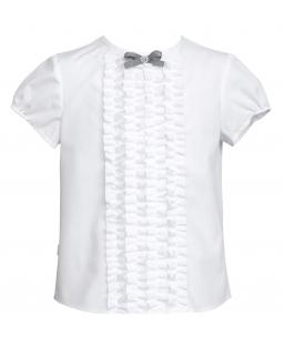 Bluzka dla dziewczynki z falbankami 128-158 139/SZK biel