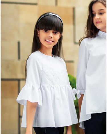Efektowna bluzka z szerokimi rękawami 128-158 130/SZK biel
