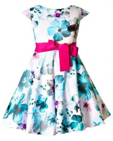 Sukienka w kolorowe kwiaty 128 - 158 Anita 5 turkus plus róż