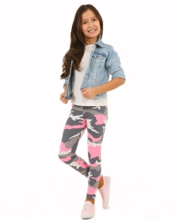 Modne legginsy moro 116-158 KRP013 szary plus róż