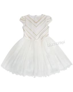 Rozkloszowana sukienka z paskiem 134-158 Astra 2 ecru