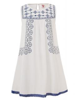 Sukienka plażowa z wzorami indygo 134-164 GYQ4126 ecru