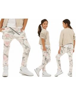 Spodnie baggy zip w kwiaty 116-158 KRP14 róż plus biel
