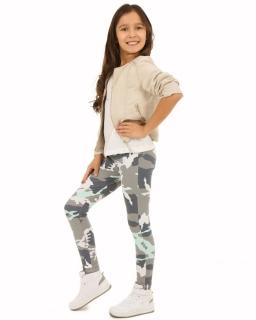 Bawełniane legginsy 116-158 KRP013 szary plus mięta