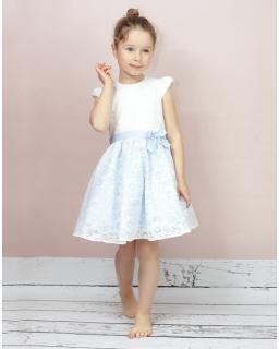 Letnia sukienka okolocznościowa 116-146 Celinka biel plus błekit