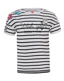 T-shirt z modnymi nadrukami 134-164 GPO-3904 biel