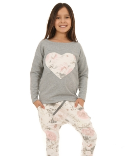 Bawełniana bluza z secem w róże 116-158 KRP20 szary