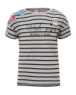 T-shirt z wesołymi nadrukami 134-164 GPO-3904 szary