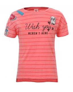 T-shirt w paski i nadruki 134-164 GPO-3904 róż