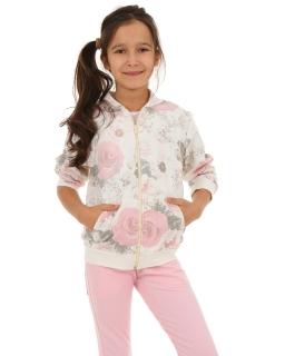 Dziewczęca bluza w róże 116-158 KRP27 ecru plus róz