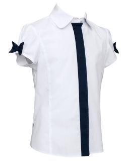 Elegancka bluzka dla dziewczynki 134-164 122A/SZK biel plus granat