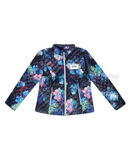 Pikowana kurtka w kolorowe róże 128-152 Laila granat