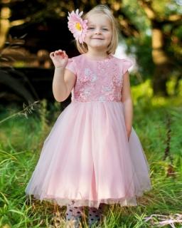 Długa balowa sukienka 104-128 Luiza róż