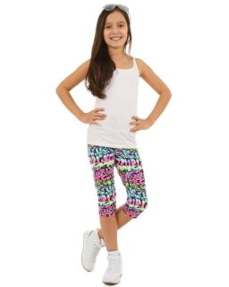 Neonowe legginsy z napisami 3/4 116-158 KRP35 multikolor