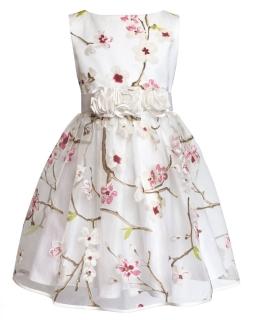 Sukienka w kwiaty z paskeim 152-158 20B ecru