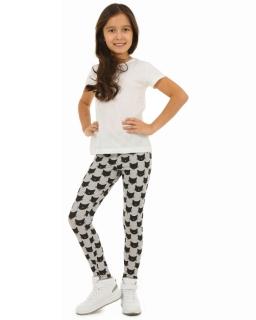 Długie legginsy w kotki 116-158 KRP47 biel plus czerń