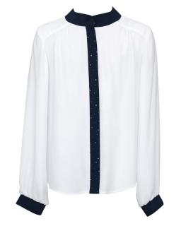 Bluzka ze stójką dla dziewczynki 140-164 142/SZK biel plus granat