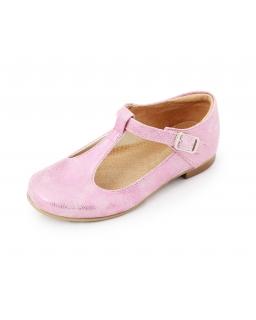 Dziewczęce pantofelki z paskiem 25-30 BA11 róż przecierka