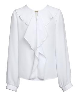 Bluzka z ozdobną falbaną 140-170 129/SZK biel