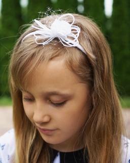 Biała opaska dla dziewczynki, piękny kwiat P07