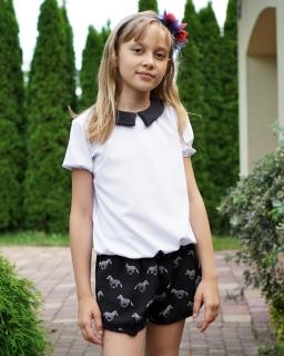 Elegancka bluzka z krótkim rękawem 116-152 Alicja 2 biel