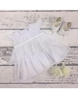 Sukienka z falbankami na chrzest 68-80 Ula biel