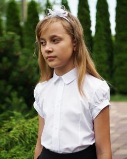 Bluzka koszulowa z haftem 122-146 109a/SZK biel