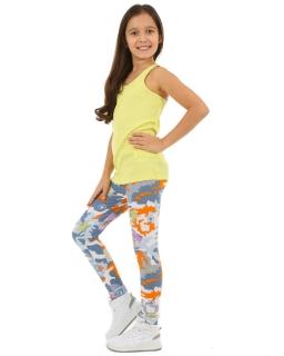 Kolorowe legginsy moro 116-158 KRP57 multikolor