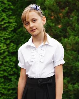 Bluzka z krótkim rękawkiem 122-158 Ela biała